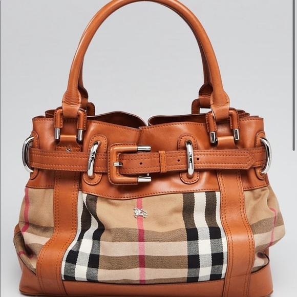 Burberry Brown Leather Canvas Shoulder Bag